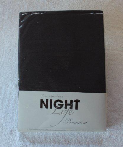 NightLife Jersey Spannbettlaken Farbe stahlgrau dunkleres grau Größe 180 x 190 bis 200 x 200 cm Spannbettuch Spannlaken mit Rundumgummi 100% Baumwolle