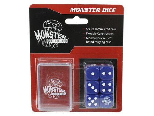 Dice - Monster Protectors Set of 6 D6 Logo Die with Pocket Carrying Case (Blue) - 1