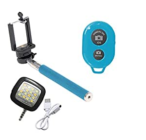 Novo Style Bluetooth Wireless Remote Shutter Selfie Stick - Blue with 16 LED Selfie Night Flash Light Accessory Combo