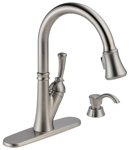 Delta Savile 19949-SSSD-DST Single Handle Pull-Down Kitchen Faucet with Soap Dispenser, Stainless