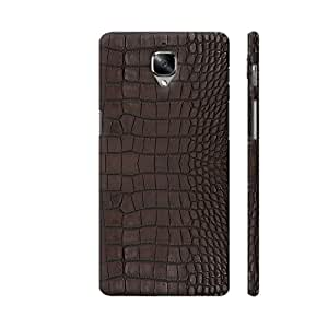 Colorpur Gator Brown Leather Print Designer Mobile Phone Case Back Cover For OnePlus 3 | Artist: Looly Elzayat