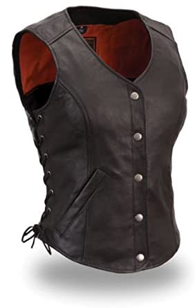 Womens Motorcycle Biker Classic Soft Leather Vest with Side Laces Longer Length (4XL)