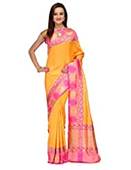 Yellow Summer Silk Banarasi Saree With Zari Work