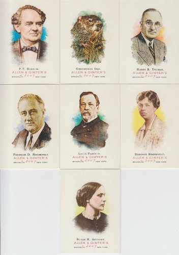2007 Topps Allen & Ginter 7 Card Lot Historical & Sports P.T. Barnum Susan B. Anthony #13,24,26,169,183,269,298