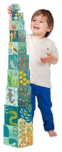 Petit Collage Nesting Blocks - Ocean ABC