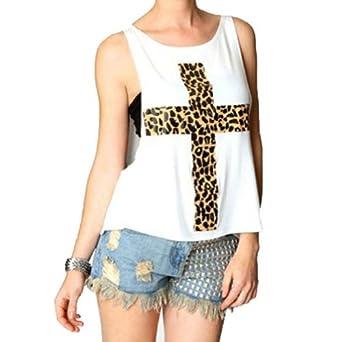 better.dealz - Sexy Rock Gilet Débardeur Imprimé Léopard Croix Côtés Nus Lâche Femmes Tops Blouse T-shirt Hauts + Bandeau Noir GRATUIT (Large, Blanc)