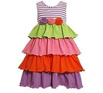 Bonnie Jean Girls Stripe Muti-tiered Rolled Flower Spring Summer Dress, Multi, 14