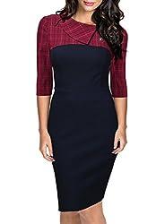 Missmay® Women's Super Cute Lapel Plaid Pattern Checker Slimming Dress