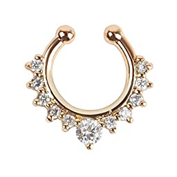 Oasis Plus White Crystal Gold Clip on Septum Fake Nose Ring Hoop Non Piercing Hanger Nose Rings Stud Body Jewelry