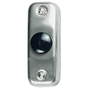 Heath Zenith 700A-A Wired Push Button, Silver Finish with Black Center Button
