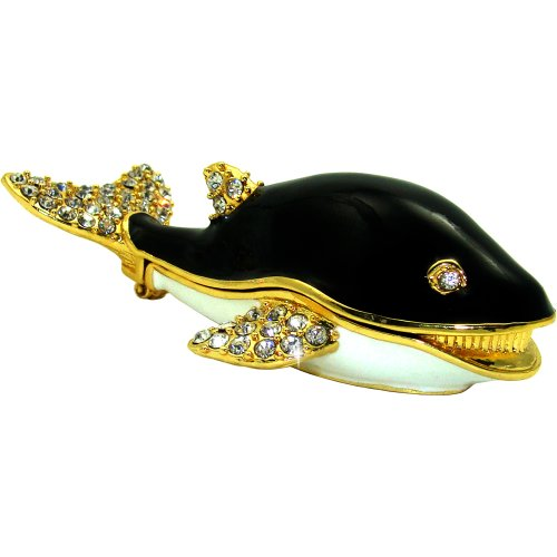 "Objet D'Art Release #435 ""Spout"" Whimsical Whale Handmade Jeweled Metal & Enamel Trinket Box"