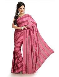 Designersareez Women Chiffon Jacquard Printed Onion Pink Saree With Unstitched Blouse(976)