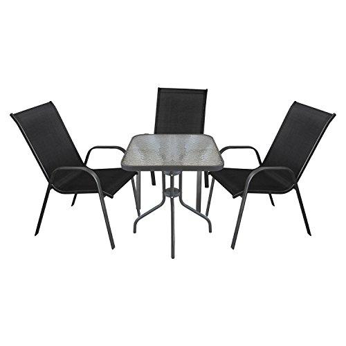 Gartenmbel-Terrassenmbel-Balkonmbel-Campingmbel-Set-4-teilig-Gartengarnitur-Sitzgruppe-Sitzgarnitur-Glastisch-60x60cm-3x-Gartenstuhl-stapelbar-Textilenbespannung-AnthrazitSchwarz