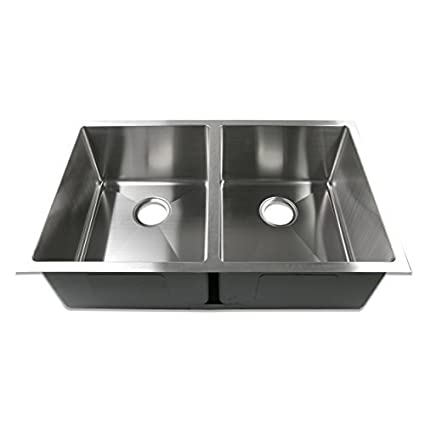 Decor Star® H-002-R 33 Inch x 20 Inch Undermount 50/50 Equal Double Bowl 16 Gauge Stainless Steel Luxury Handmade Kitchen Sink R15