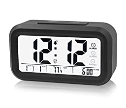 ZHPUAT Three Rings Morning Alarm Clock, Low Light Sensor Technology, Light On Back light When Detect Low Light, Soft Light That alarm Wake You Up Softly, Black