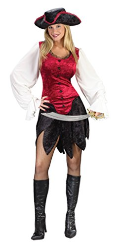 Funworld Womens Sexy Pirate Lady Sexy Red Theme Party Fancy Halloween Costume