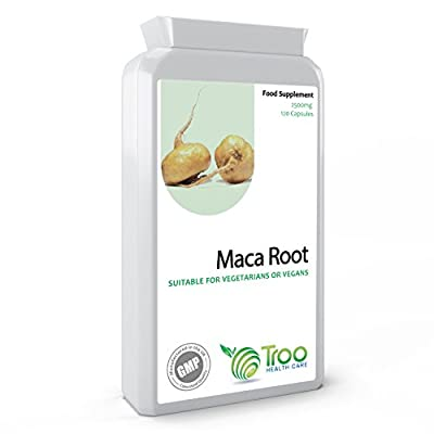 Maca Root 2500mg 120 Capsules - High Strength Vegan Friendly Maca Supplement To Support Healthy Sexual Function & Fertility - UK Manufactured To GMP and ISO 9001 Quality Assurance by Troo Health Care
