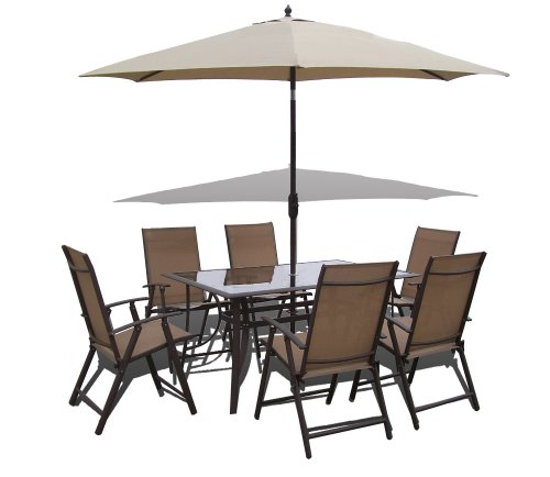 8 Piece Santorini Garden and Patio Set -6 Chairs-Table-Tilt and Crank Parasol