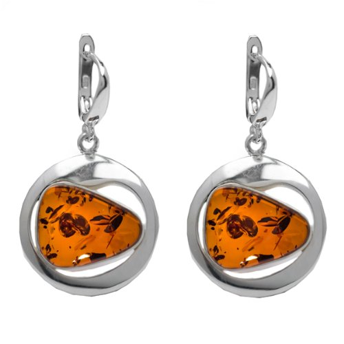 Certified Genuine Amber and Sterling Silver Free-shaped Leverback Earrings