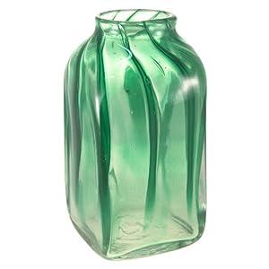 Vase cube en verre soufflé Décor vert: Cuisine & Maison