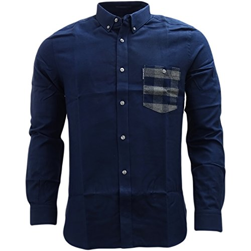 french-connection-camicia-casual-basic-con-bottoni-maniche-lunghe-uomo-navy-x-large