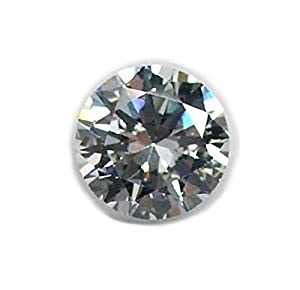 White Round CZ Facet Loose Unset Gemstone Cubic Zirconia Brilliant Cut 10mm (Qty=2)
