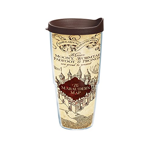 Tervis Harry Potter Marauders Map Individual Wrap Tumbler with Brown Lid, 24 oz, Clear