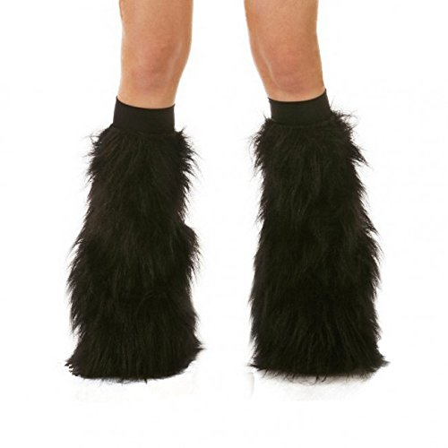 [TrYptiX Women's Fluffy Leg Warmers Short Pile Black One Size w/ Black Kneebands] (Furry Rave Boots)
