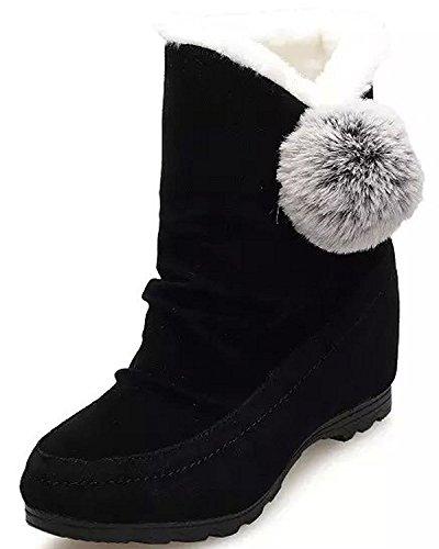 Minetom Donna Inverno Stivali Da Neve Piatta Altezza Crescente Cotone Boots Carino Pom Poms Scarpe Stivali Nero EU 39