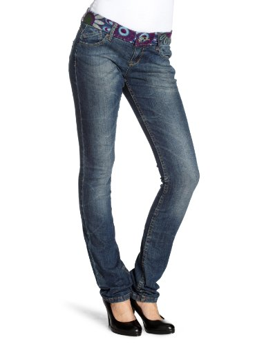 Desigual Flores Waist Tapered Womens Jeans Blue Size 24W