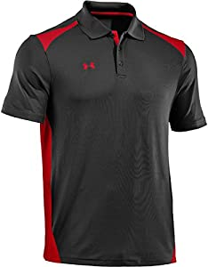 Under Armour Men's Team Colorblock Polo, Black Red, Large