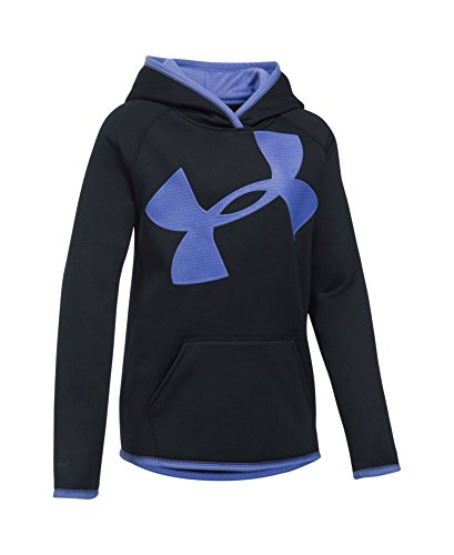 Under Armour Girls' Armour Fleece Jumbo Logo Hoodie, Black (002), Youth Large
