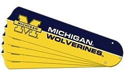 Ceiling Fan Designers 7990-MIC New NCAA MICHIGAN WOLVERINES 52 in. Ceiling Fan Blade Set