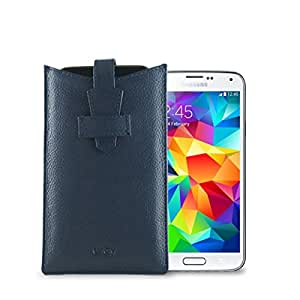 GoGappa Premium Leather Cover for Samsung Galaxy S5 - cover with a loop : FREE Canvas bag for extra protection (Blue)