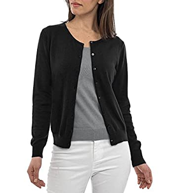 Wool Overs Women's Silk & Cotton Crew Neck Cardigan Black Small