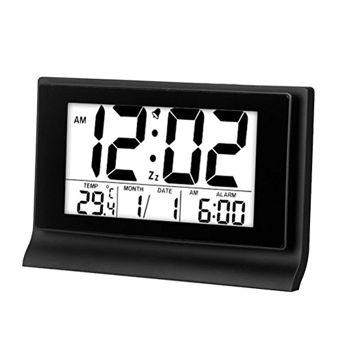 Hense 8 Creative Ultra big LCD Screen Intelligent backlight activated Sensor Bedside Digital Snooze Alarm Clock with Date and Temperature Display HA28 (Black)