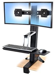 Ergotron WorkFit-S 33-341-200 Dual Sit-Stand Workstation - Steel, Plastic, Aluminum - Black