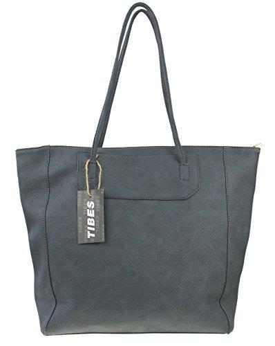 Tibes donne moderne unità di elaborazione della borsa del cuoio e la borsa di grandi dimensioni Grigio
