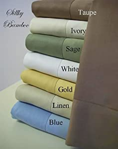 King Size Silky Super Soft Rayon from BAMBOO Taupe Sheet Set, Bamboo sheets naturally hug the body like Silk sheets do, Perfect for people with allergies and chemical sensitivity. Bamboo is highly resistant to dust mites