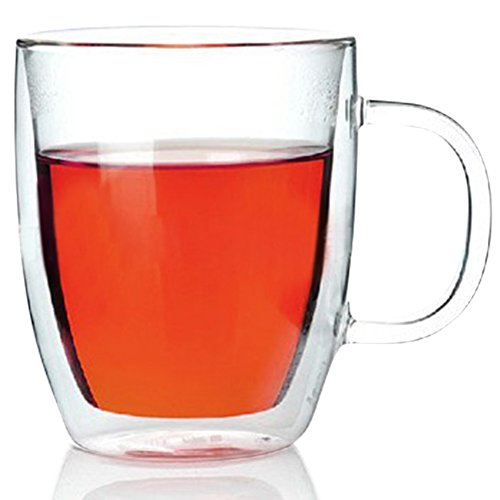 VARANO 12 oz Double Wall Insulated Glass Mug - Crystal Clear Cup For Tea, Coffee, Milk or Cold Drinks - Heat Resistant Layered Top Quality Lead Free Borosilicate Glass- Great Gift Thermal Mug (12 OZ)