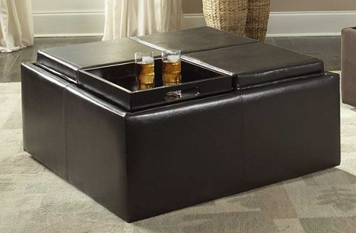 Homelegance Coffee Table Ottoman with 4 Trays in Faux Leather
