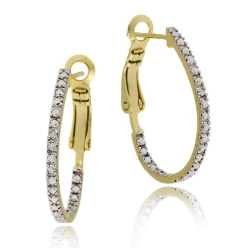 18k Yellow Gold Plated Sterling Silver Diamond-Accent Oval Hoop Earrings (0.8
