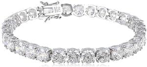 "Platinum Plated Sterling Silver Round Simulated Diamond Tennis Bracelet, 7"" from PAJ, Inc"