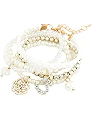 Young & Forever Snow Whites Lucky No.5 White Pearl Bracelet (Set Of 5) For Women By CrazeeMania