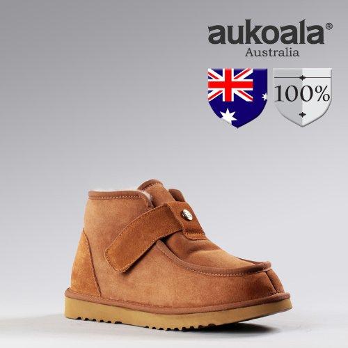 Men Boots Aukoala Australia Sheepskin Gladiator Mini Winter Boots Chestnut(10)