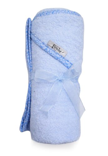 "Extra Large 40""x30"" Absorbent Hooded Towel, Solid Blue with Swirl Print, Frenchie Mini Couture"