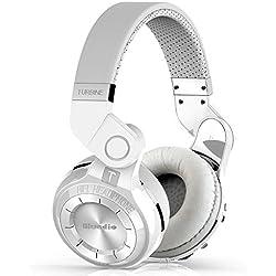 BTEK® Turbine 2 tiro cuffie stereo bluetooth freno cuffie senza fili Bluetooth 4.1 auricolare serie uragano sopra il pacchetto regalo cuffie auricolari (Bianco)