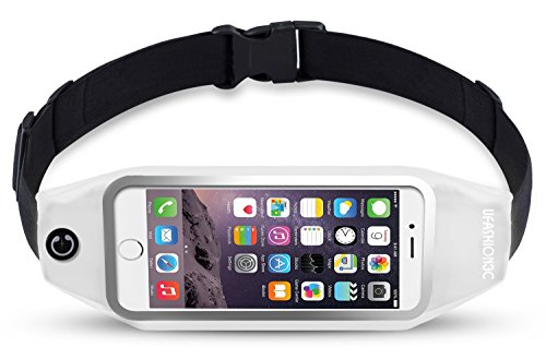 UFashion3C Running Belt Waist Pack Pouch for iPhone 7, 7 Plus, 6S, 6S Plus, 6, 6 Plus, Galaxy J7, S5, S6, S7, Edge, Note 3, 4, 5, LG G3, G4, G5 with OtterBox/ LifeProof Waterproof Case (White)
