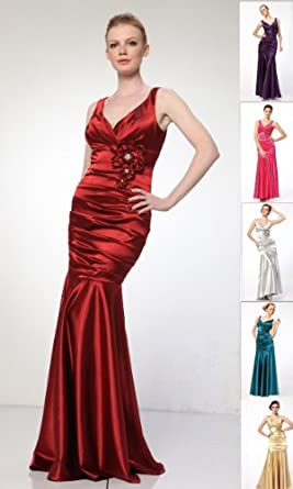 #5098 Satin V-neck Bridemaid Prom Formal Long Gown
