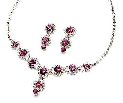 Sparkling Fuschia Jewelry Set, Rhinestone Swirl & Crystal Necklace & Earrings 503 (Fuchsia)
